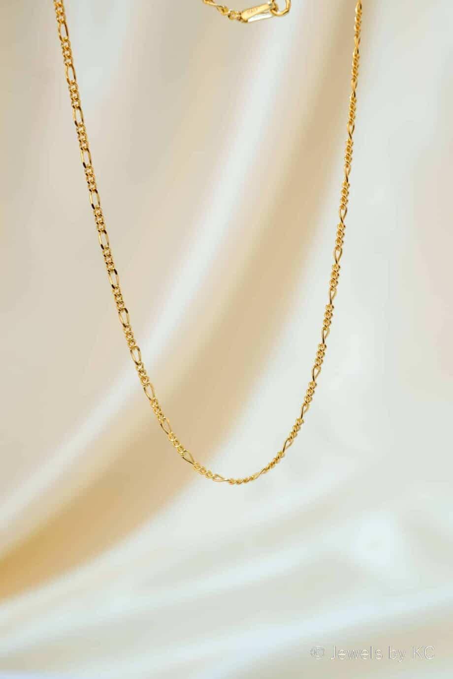 Gouden Figaro ketting van Goud op Zilver