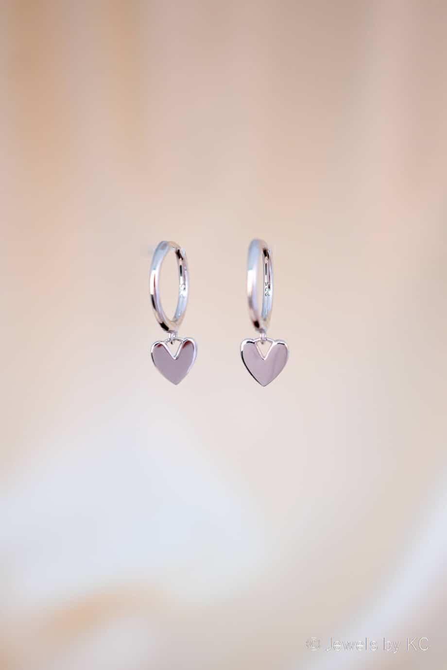 Zilveren Hartjes oorbellen 'My heart' van Sterling Zilver