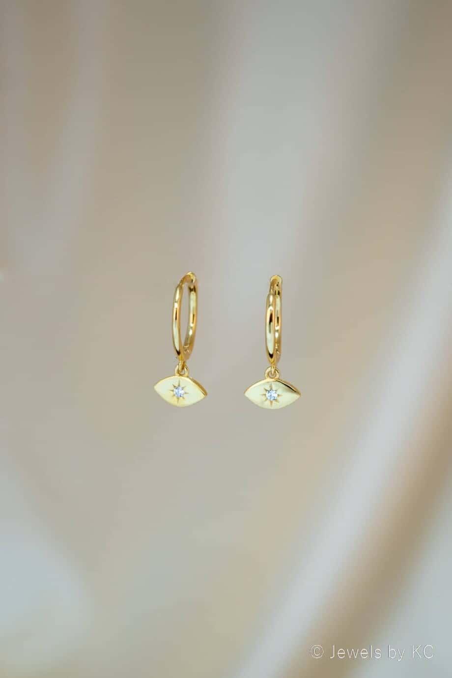 Gouden oorbellen Golden Eye Zirkonia van Goud op Zilver