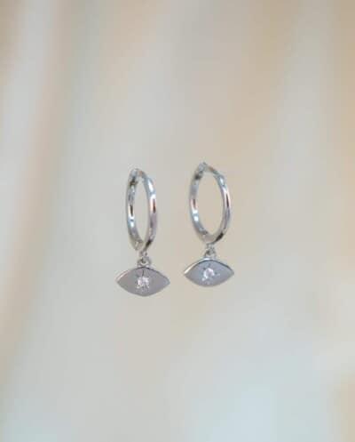 Zilveren oorbellen met Zirkonia 'Egyptian eye' van Sterling Zilver