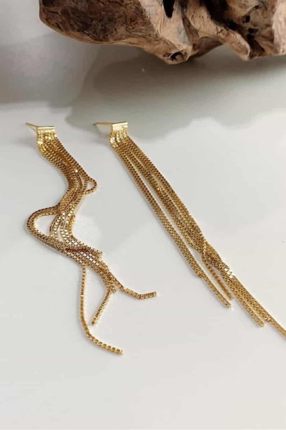 Gouden 'Chique Threader' oorbellen van Goud op Zilver