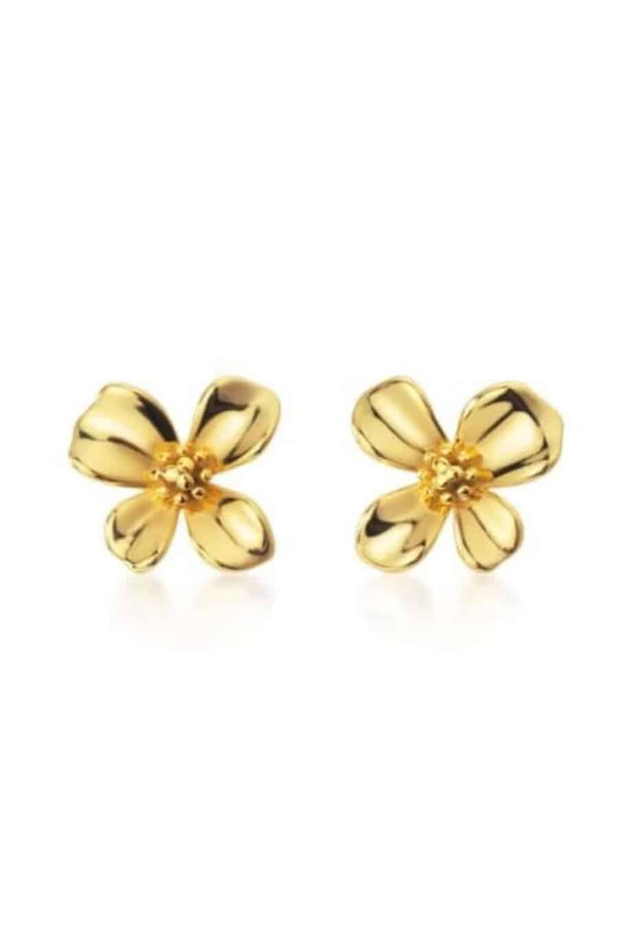 Gouden oorbellen 'Golden Flower' van Goud op Zilver