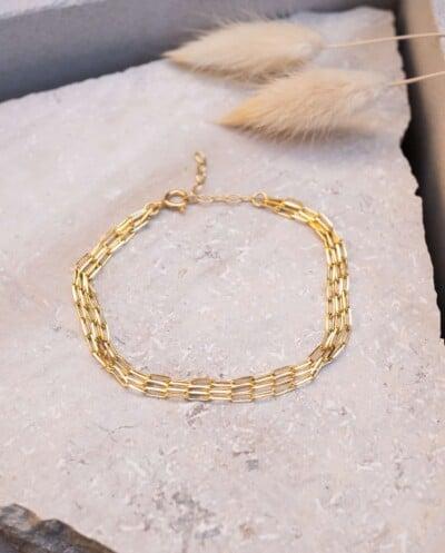 Gouden armband Triple Longbox van Goud op zilver