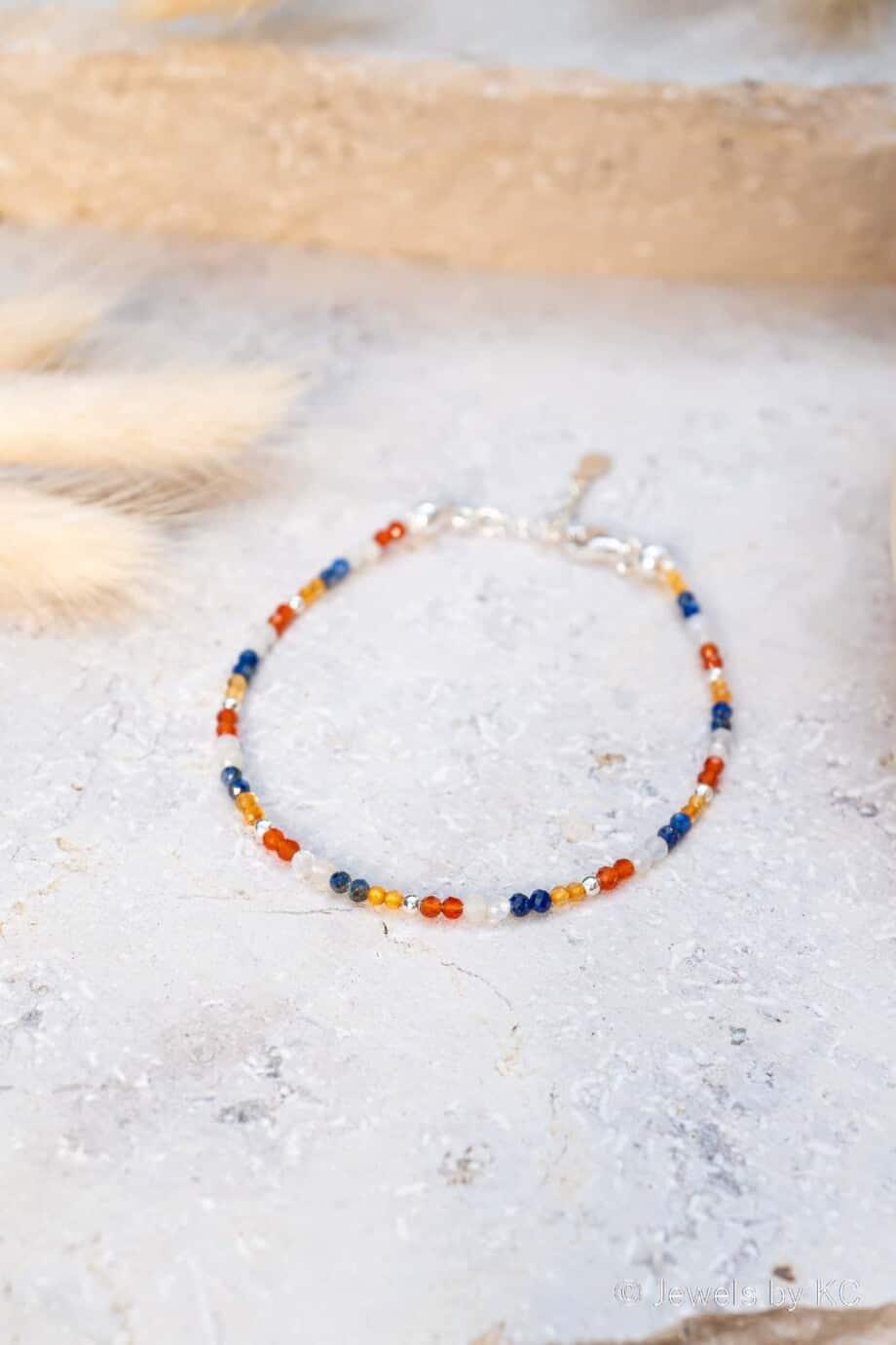 Zilveren edelsteen armband Dutch Orange van Sterling Zilver