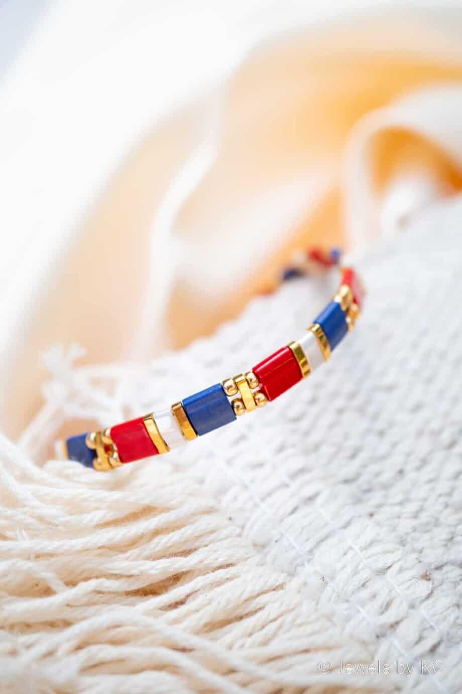Gouden Miyuki Tila armband Rood wit Blauw Lets Go Holland!