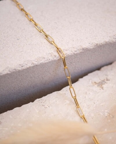 Gouden Ketting 'Golden long box' van Goud op Zilver