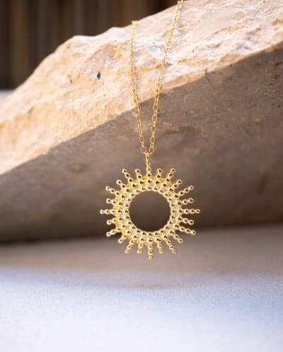 Gouden Sunshine ketting van Goud op Zilver