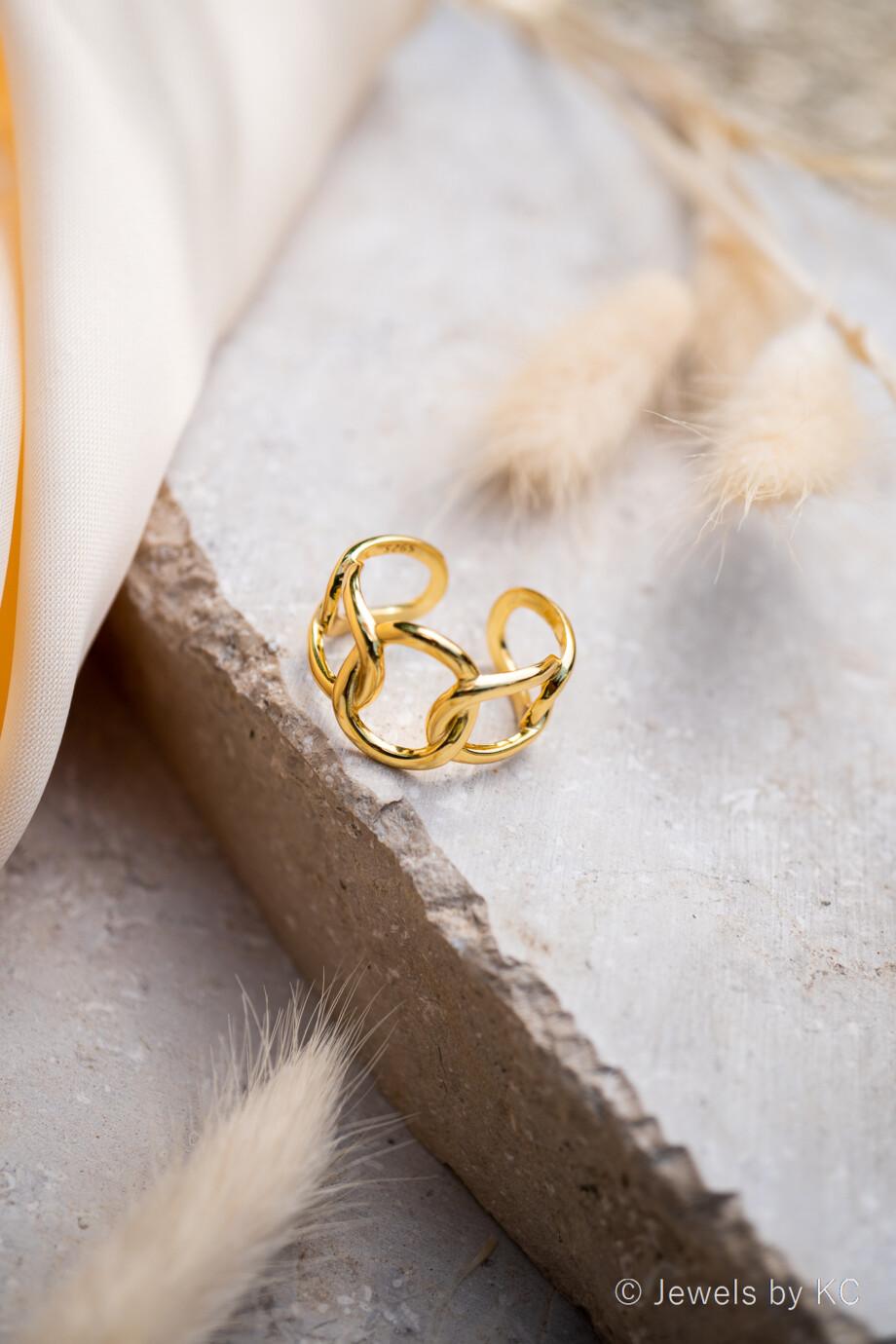 Gouden ring 'Hollow' van Goud op Zilver