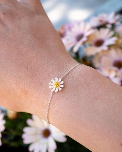 Zilveren Daisy armband met Madelief bloem