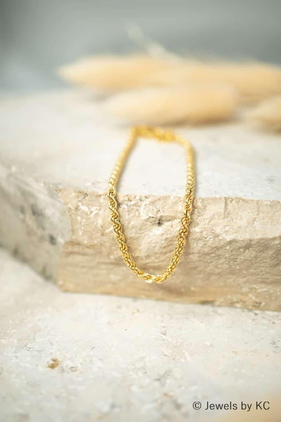 Gouden armband Classic cord van Goud op zilver