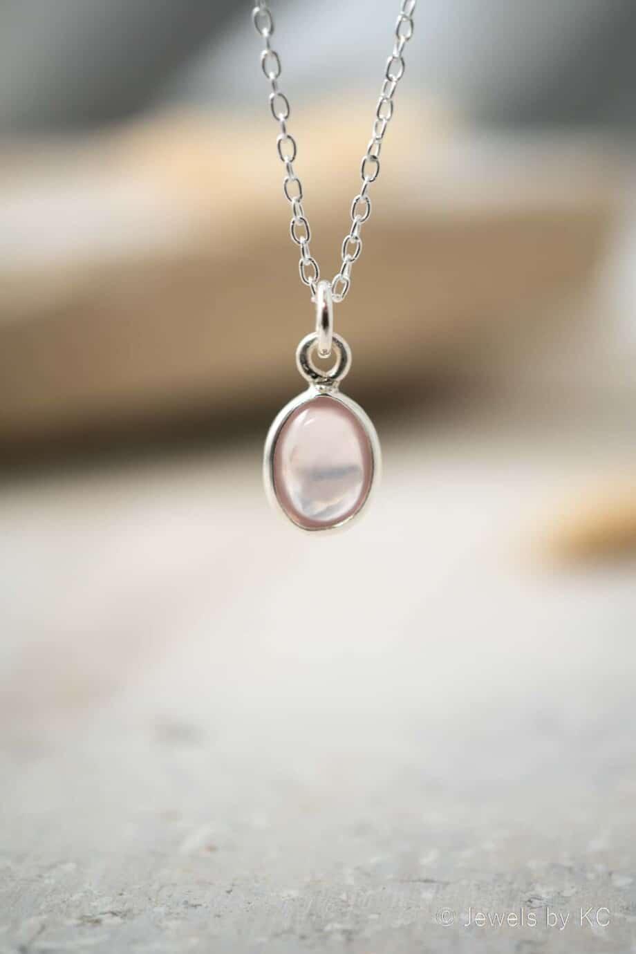 ilveren edelsteen ketting met Rozenkwarts edelsteen roze hanger