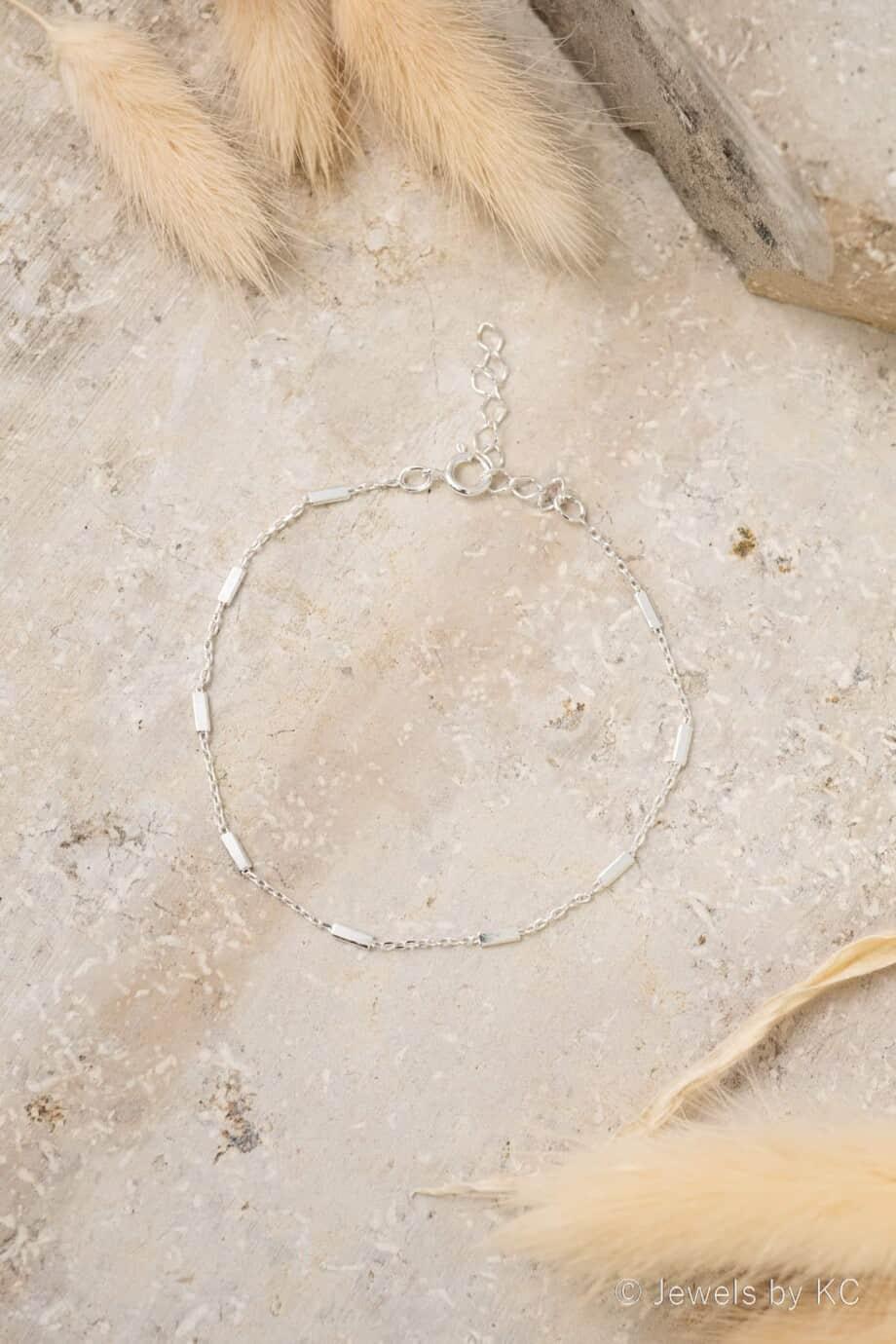 Fijne Zilveren armband Silver bars van Sterling Zilver