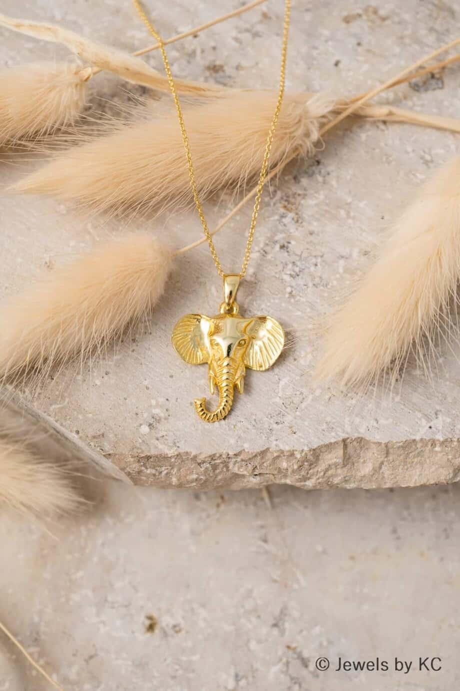 Gouden ketting met olifant hanger van Goud op Zilver