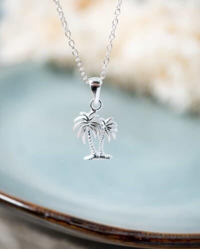 Zilveren ketting met palmboom hanger van Sterling Zilver