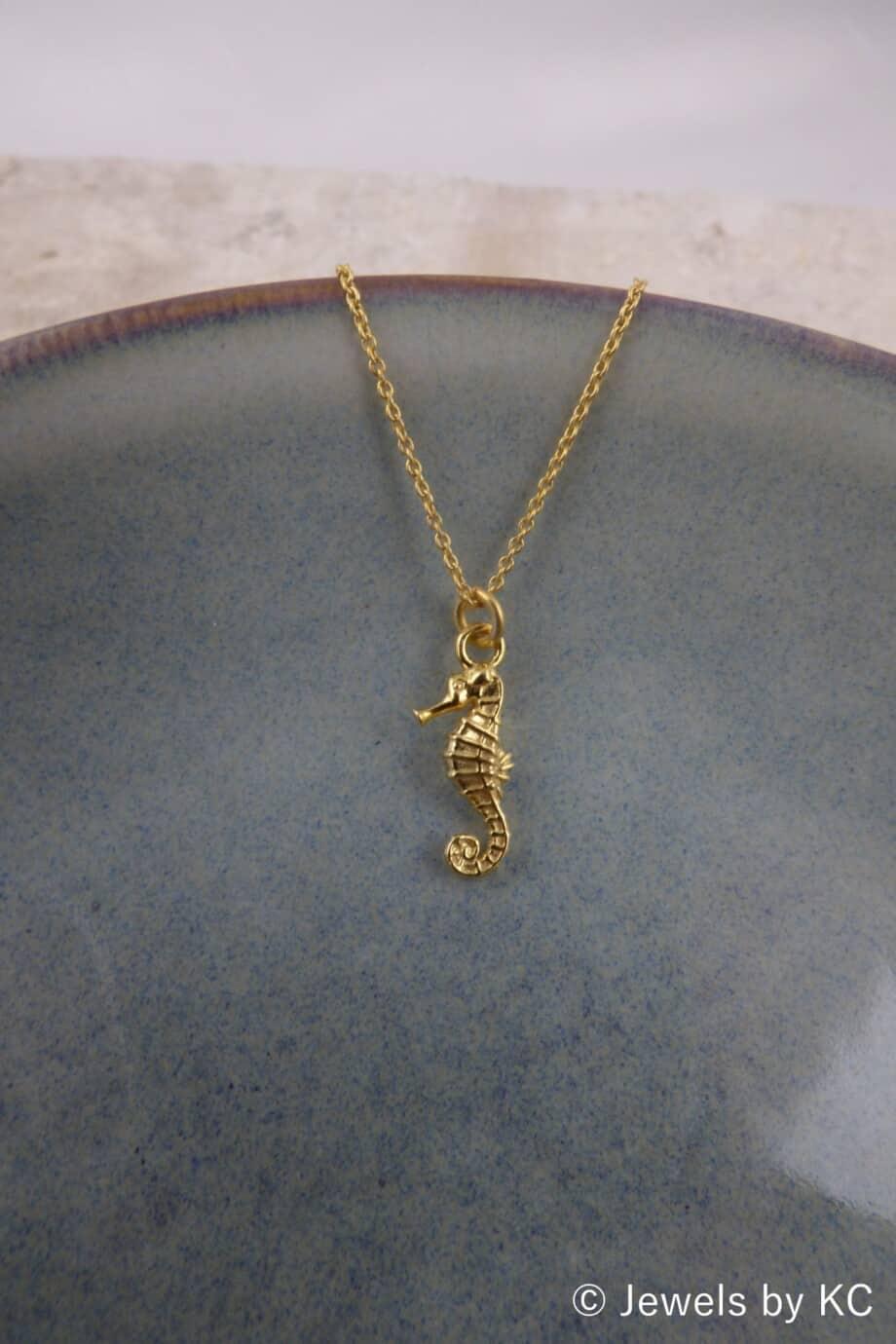 Gouden ketting met 'Zeepaardje' hanger van Goud op Zilver