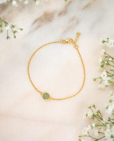Minimalistische-Gouden-edelsteen-armband-Groene-Aventurijn-Aventurine-van-Goud-op-Zilver