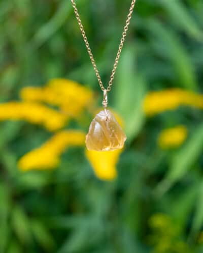 Gouden edelsteen ketting Oranje Gele citrien van Goldfilled Ruwe edelsteen