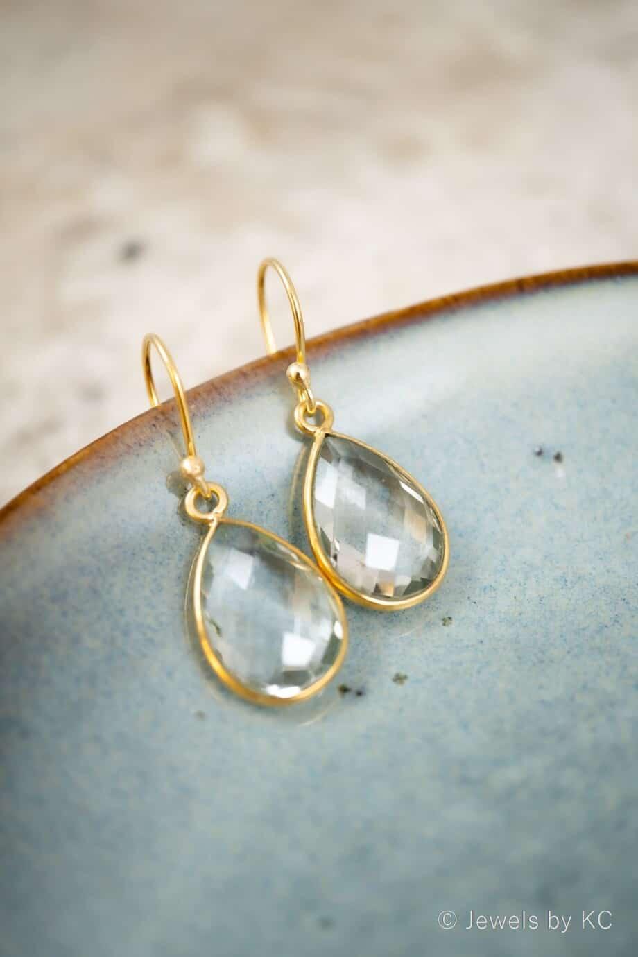 Gouden Bergkristal edelsteen oorbellen oorhangers Goud op Zilver