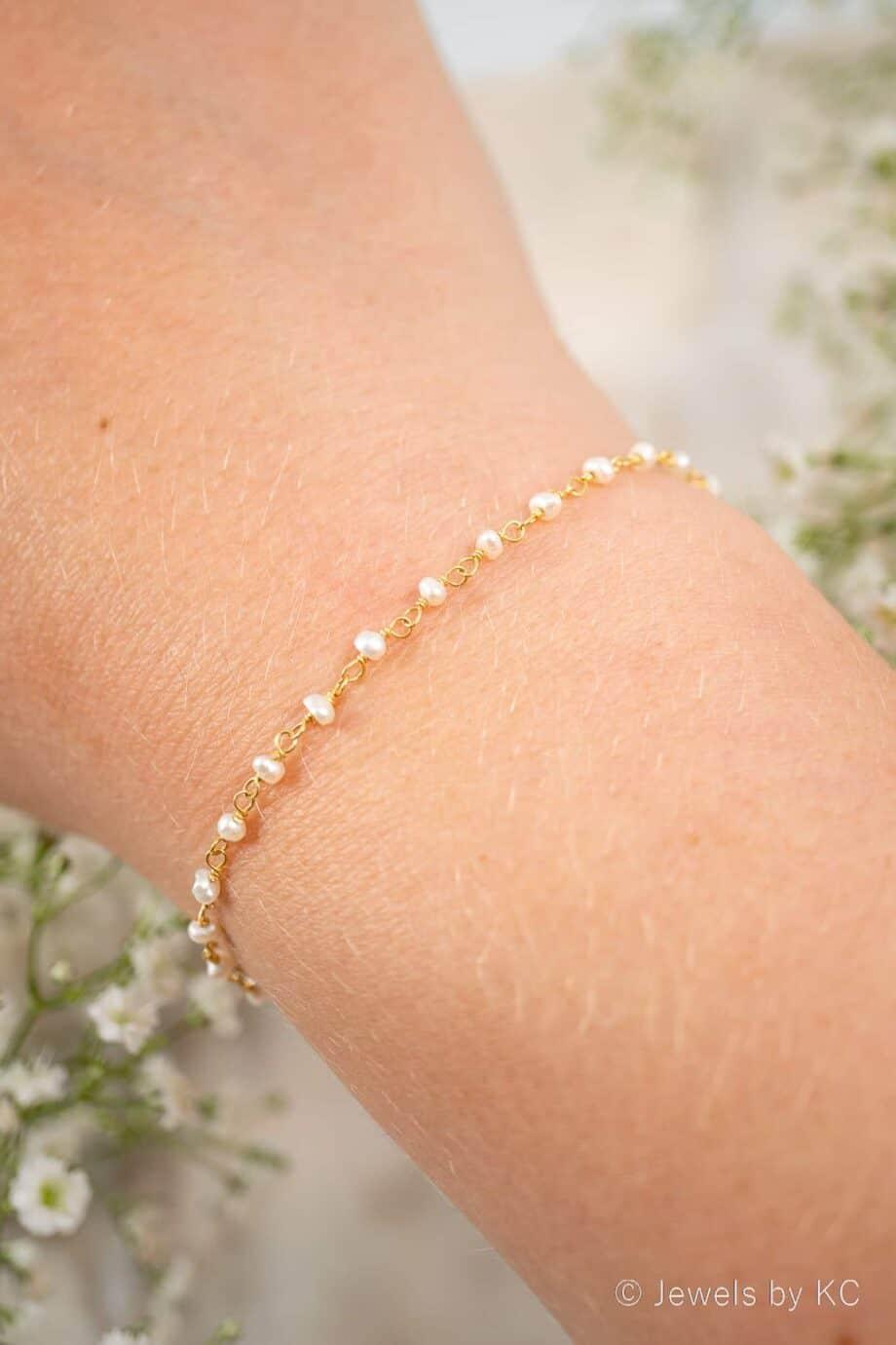 Gouden-parel-rosary-armband-gevlochten-van-Goud-op-Zilver