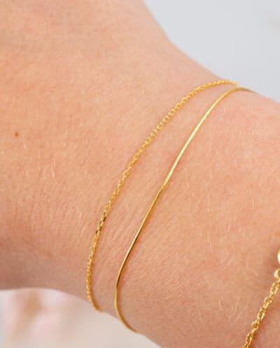 Dubbele Minimalistische dunne Gouden armband Goldplated Zilver