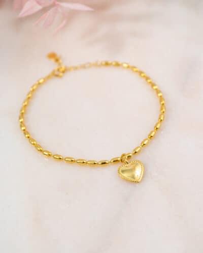 Gouden-hartje-armband-rice-kralen-van-Goud-op-Zilver