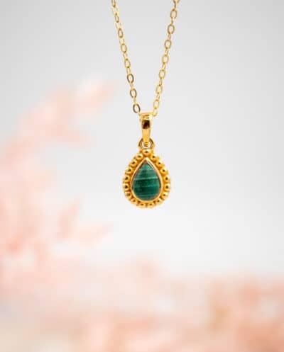 Goldfilled Gouden ketting met Groene Malachiet edelsteen van Goud op Zilver